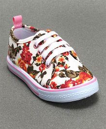 Cute Walk by Babyhug Canvas Shoes Floral Print - Pink White