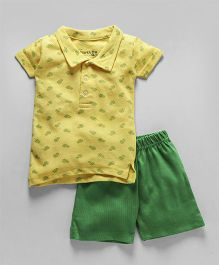 Earth Conscious Half Sleeves Polo T-shirt With Half pant - Yellow