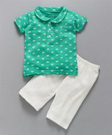 Earth Conscious Printed Polo T-shirt With Half Pant - Green & White