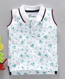 GJ Baby Sleeveless Collar Tee Floral Print - White