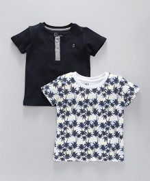 Gini & Jony Half Sleeves Solid & Printed Tee Pack Of 2 - Navy Blue White