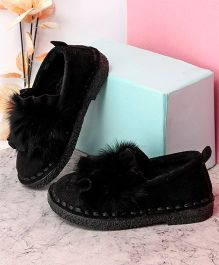 Kidlingss Fur Pom-Pom Suede Slip-On Shoes - Black