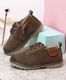 Kidlingss Lace-Up Shoes With Spray Effect And Side Zip - Camel