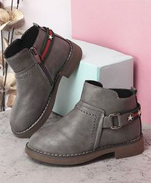 Kidlingss Zip-Up Boots With Buckle Strap - Grey