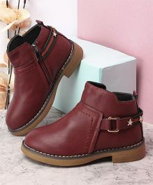Kidlingss Zip-Up Boots With Buckle Strap - Cherry