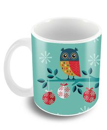The Crazy Me Owl Design Ceramic Coffee Mug Blue - 325 ml