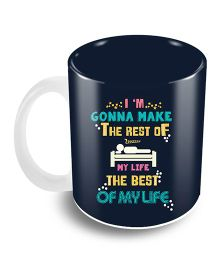 The Crazy Me Text Design Ceramic Coffee Mug Navy Blue - 325 ml