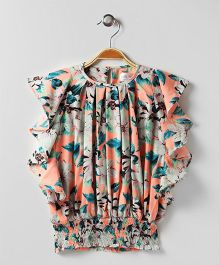 Soul Fairy Printed Flutter Sleeves Top - Peach