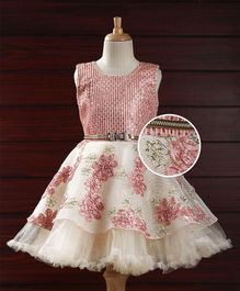Babyhug Party Wear Dress With Sequin Details - Peach Off White