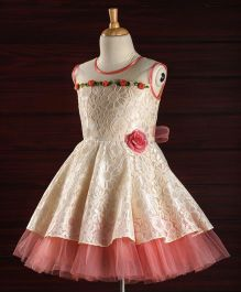 Babyhug Sleeveless Party Frock With Lace Work & Floral Applique - Beige Pink