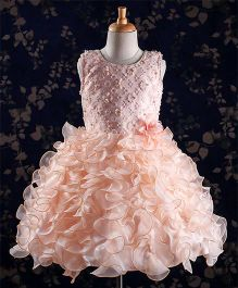 Babyhug Party Wear Dress Floral & Sequin Details - Peach