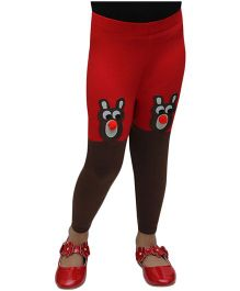 D'Chica Pom Pom Nose Cute Teddy Leggings - Red & Brown