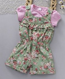 ToffyHouse Jumpsuit With Short Sleeves Tee Floral Print - Green Pink