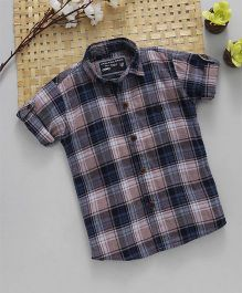 Jash Kids Half Sleeves Checks Shirt - Pink & Blue