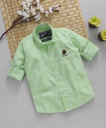 Jash Kids Full Sleeves Checks Shirt With Polo Patch - Green