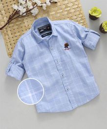 Jash Kids Full Sleeves Checks Shirt With Polo Patch - Sky Blue