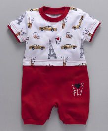 Wonderchild Car Print Half Sleeve Romper - White & Red