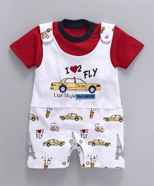 Wonderchild Car Print Knitted Dungaree - White & Red