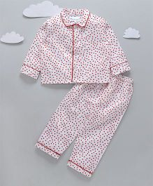 Funkrafts Full Sleeves Night Suit Polka Dots Print - Red White