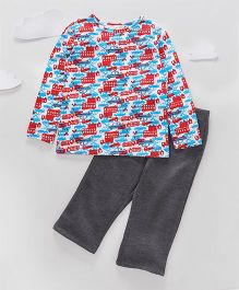 Funkrafts Full Sleeves Cotton And Fleece Night Suit Car Print - Multicolor