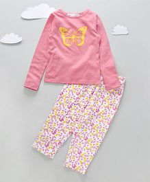 Funkrafts Full Sleeves Cotton And Fleece Night Suit Butterfly Print - Pink