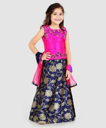 Babyhug Sleeveless Floral Embroidered Lehenga Set With Dupatta - Pink Navy Blue
