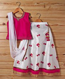 Babyhug Lehenga Set With Dupatta Floral Embroidery - Pink White