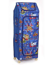 Kids Zone Folding Almirah Doggy Print - Red Blue