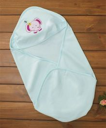 Simply Hooded Wrapper Elephant Patch - Light Blue