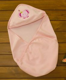 Simply Hooded Wrapper Elephant Patch - Pink