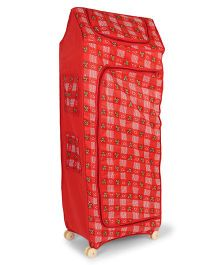 Kids Zone Multipurpose Almirah With Wheels Heart & Bear Print - Red