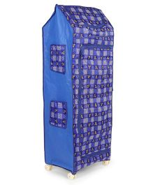 Kids Zone Multipurpose Almirah With Wheels Heart & Bear Print - Royal Blue