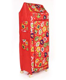 Kids Zone Folding Almirah With Wheels Alphabet Print - Red