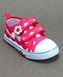 Cute Walk by Babyhug Casual Canvas Shoes Polka Dots Print - Fuschia