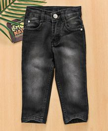 Babyhug Full Length Stretchable Jeans With Adjustable Elasticated Waist - Black