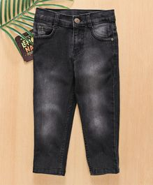 Babyhug Monkey Wash Jeans With Adjustable Elastic Waist - Black