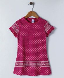 Ollypop Short Sleeves Printed Frock - Fuchsia