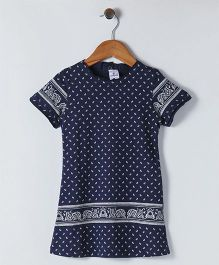 Ollypop Short Sleeves Printed Frock - Navy Blue