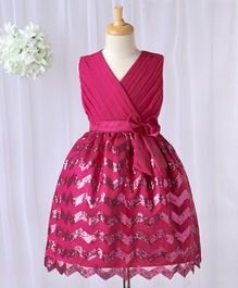 Babyhug Sleeveless Party Wear Frock Sequin Detailing - Pink
