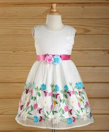 Babyhug Sleeveless Party Frock Floral Embroidered - White