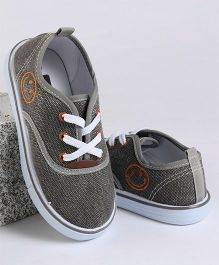 Cute Walk by Babyhug Casual Canvas Shoes Smiley Face Print - Grey