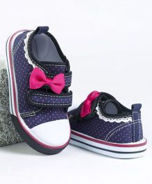 Cute Walk by Babyhug Canvas Shoes Bow Applique - Navy & Pink