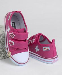 Cute Walk by Babyhug Casual Canvas Shoes Butterfly Embroidered - Fuchsia
