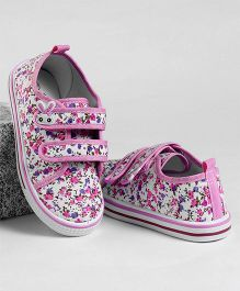 Cute Walk by Babyhug Casual Canvas Shoes Floral Print - Pink