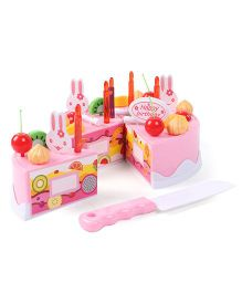 Imagician Playthings Birthday Cake Set With Knife Multicolour - 37 Pieces