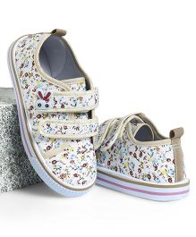 Cute Walk by Babyhug Canvas Shoes Floral Print & Bunny Motif - Dark Cream