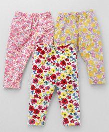 Cucumber Full Length Leggings Flower Print Pack of 3 -  Pink Yellow Red