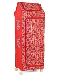 Kids Zone Multipurpose Folding Almirah With Wheels Alphabet & Bear Print - Red