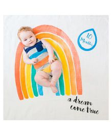 Lulujo Baby Muslin Milestone Blanket & Cards Set A Dream Come True Print - Multicolour