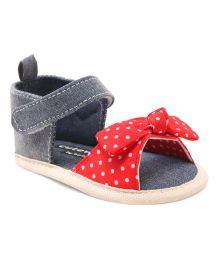 Cute Walk by Babyhug Booties Velcro Closure Bow Applique - Blue Red